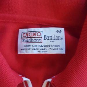 Vintage Shirts - Vintage Red Nylon Polo Mens Retro Shirt
